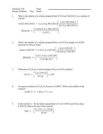 Chemistry 130 Name Practice Problems Key Sutton 1. What is the ...