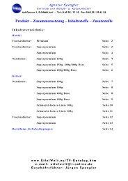 Produkt – Zusammensetzung – Inhaltsstoffe  – Zusatzstoffe - EifelWelt
