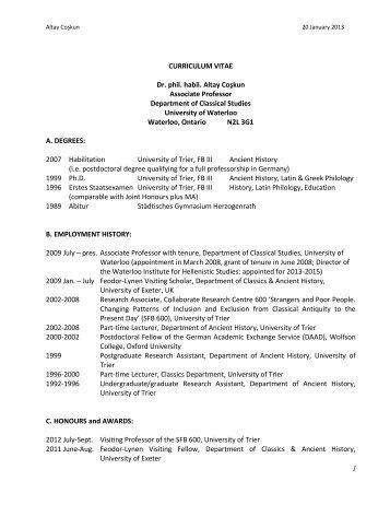 CURRICULUM VITAE - Department of Classical Studies - University ...