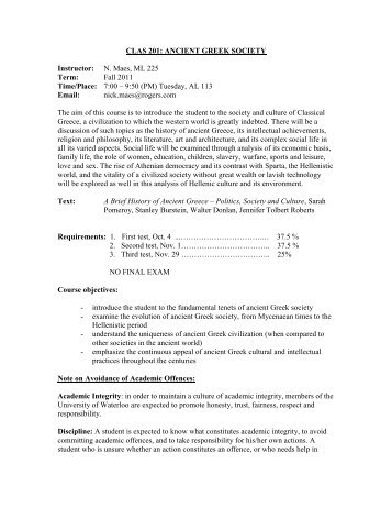 classical studies 201 - Department of Classical Studies - University ...