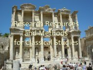 Research Tutorial PowerPoint - Department of Classical Studies