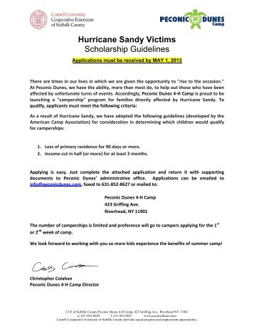 Sandy Scholarship Guidelines & Application - Cornell Cooperative ...