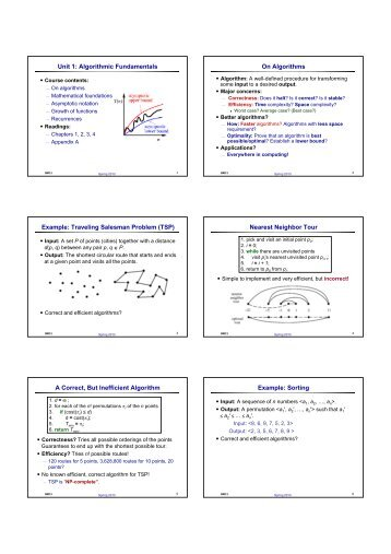 Unit 1: Algorithmic Fundamentals On Algorithms Example: Traveling ...