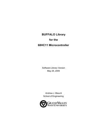 BUFFALO Library for the 68HC11 Microcontroller - Claymore ...