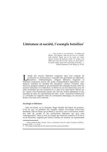 Littérature et société, l´exemple brésilien1 - cchla - UFRN