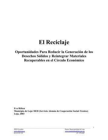 El Reciclaje-Oportunidades Para Reducir la Generación - BVSDE
