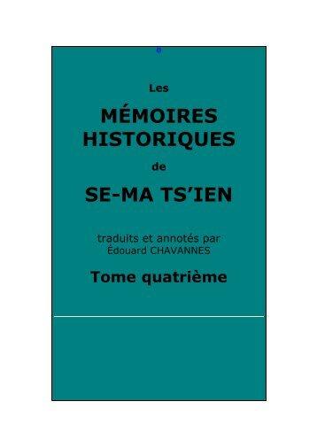 Mémoires historiques, tome quatrième - Chine ancienne