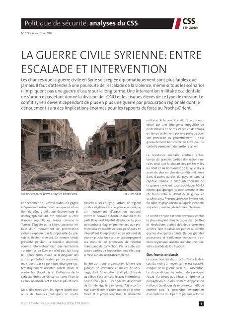 la guerre civile syrienne - Center for Security Studies (CSS)