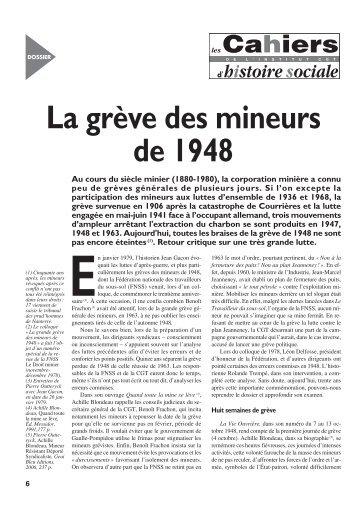 La grève des mineurs de 1948 - Institut d'Histoire Sociale CGT