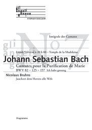 Programme - Bach Cantatas
