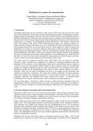 Building better corpora for summarisation Laura Hasler ... - ucrel