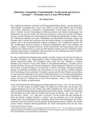 Dr. Franz: Êzîden und Aleviten [PDF] - Yeziden-Colloquium