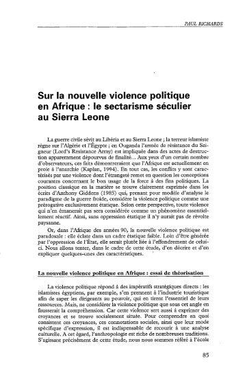 Sur la nouvelle violence politique en Afrique : le ... - Politique Africaine