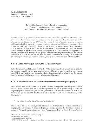 1.1 – La loi d'orientation de 1989 - Congrès AFSP 2009