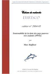 cahier n° 2004-05 - Liste des centres de recherche - Université Paris ...