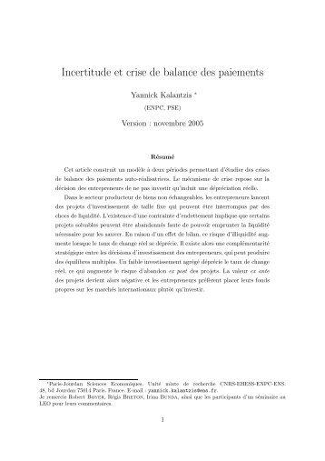 Incertitude et crise de balance des paiements - Lille 3