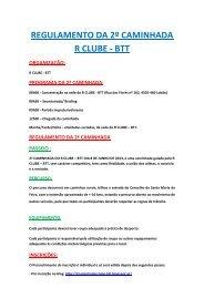 REGULAMENTO DA 2º CAMINHADA R CLUBE - BTT