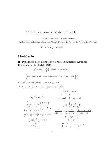 7. Aula de Análise Matemática II E