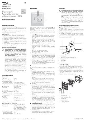 Thermostat mit Automatikfunktion für el ... - Feller Clixx