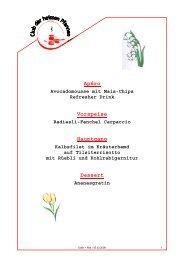 Apéro Vorspeise Hauptgang Dessert - Club der heissen Pfannen