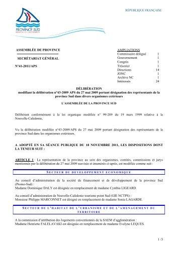 1 /3 ASSEMBLÉE DE PROVINCE SECRÉTARIAT ... - Province sud