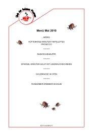 Menü Mai 2010 - Club der heissen Pfannen
