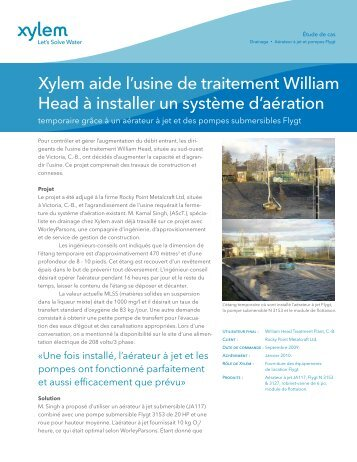 Xylem aide l'usine de traitement William Head à ... - Water Solutions