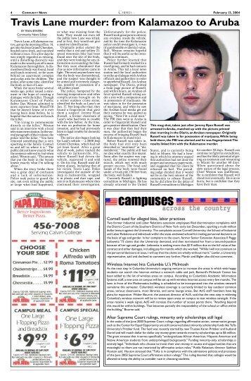 Travis Lane murder: from Kalamazoo to Aruba - Student ...