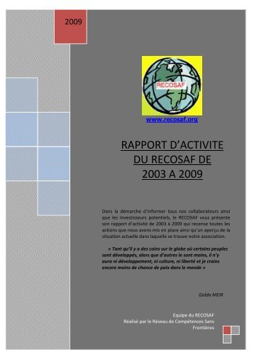 RAPPORT ACTIVITE DEFINITIF 2003 -2009 final - LEARY.CSOFT.NET