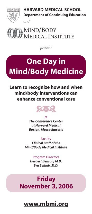 One Day in Mind/Body Medicine - CME