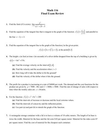 math 116 final exam answers