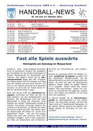 11-10-14 GTV Handball-News Nr 94 - beim Godesberger ...