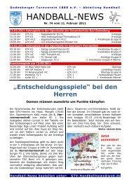 11-02-11 GTV Handball-News Nr 74 - beim Godesberger ...