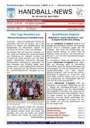10-04-16 GTV Handball-News Nr 45 - beim Godesberger ...