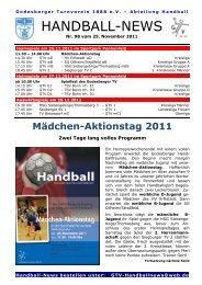 11-11-25 GTV Handball-News Nr 98 - beim Godesberger ...