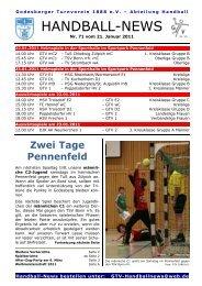 11-01-21 GTV Handball-News Nr 71 - beim Godesberger ...