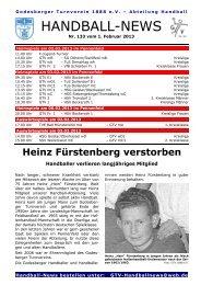 Handball-News Nr. 133 - beim Godesberger Turnverein 1888 eV