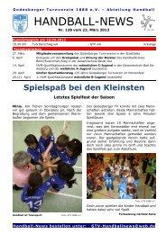 Handball-News Nr. 138 - beim Godesberger Turnverein 1888 eV