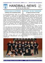 Handball-News - beim Godesberger Turnverein 1888 eV