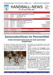 Handball-News Nr. 137 - beim Godesberger Turnverein 1888 eV