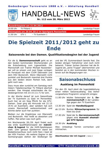 12-03-30 GTV Handball-News Nr 112 - beim Godesberger ...