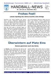 Handball-News Nr. 129 - beim Godesberger Turnverein 1888 eV