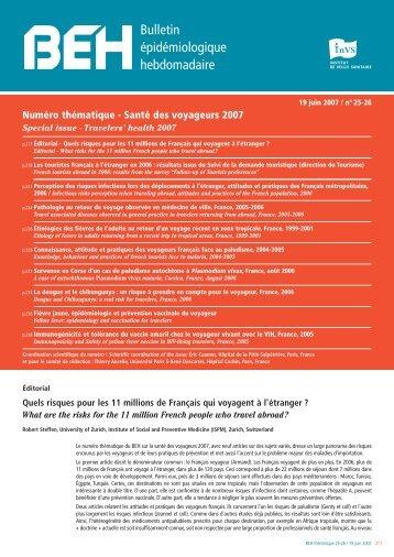 Télécharger le BEH au format Acrobat Reader - Institut de veille ...
