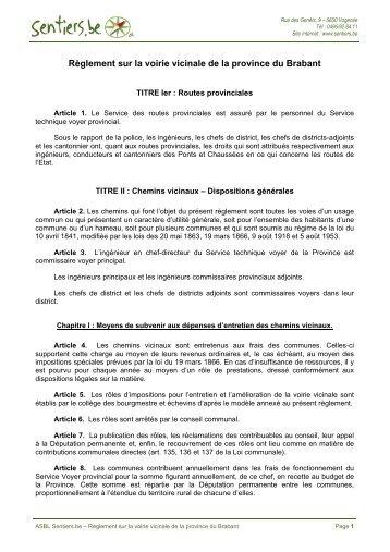 Règlement sur la voirie vicinale de la province du ... - Sentiers.be