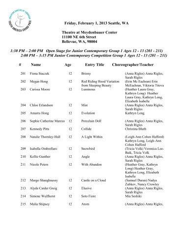 YAGP 2013 Seattle, WA – Competition Schedule