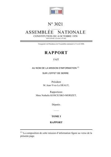 Rapport n° 3021 au nom de la mission d'information sur l'effet de serre