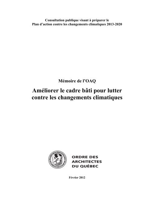 Mémoire - Ordre des architectes du Québec