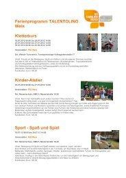 Ferienprogramm TALENTOLINO Wels Kletterkurs ... - Ferien in Sicht
