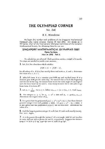 No. 246 - Canadian Mathematical Society