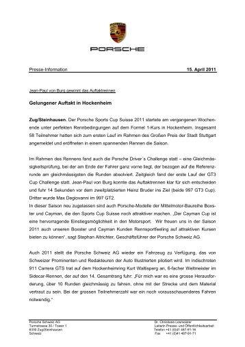 Porsche Schweiz Presseinformation - Porsche Club CMS